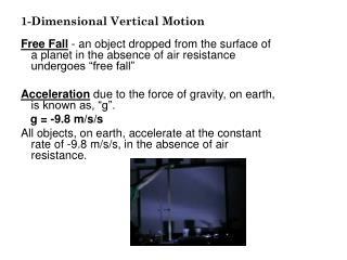 1-Dimensional Vertical Motion
