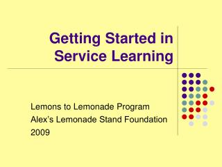 Getting Started in Service Learning