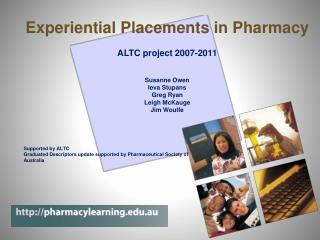 Experiential Placements in Pharmacy