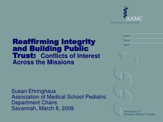 Reaffirming Integrity and Building Public Trust:   Conflicts of Interest Across the Missions