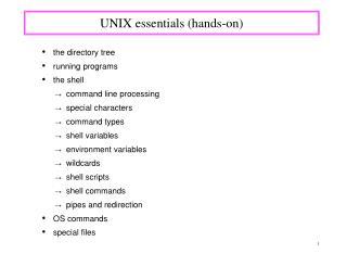 UNIX essentials (hands-on)