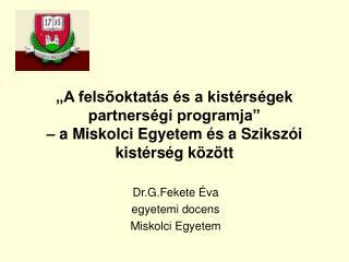 Dr.G.Fekete Éva egyetemi docens Miskolci Egyetem