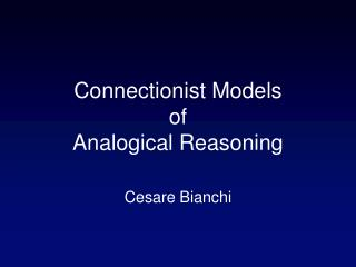 Connectionist Models of Analogical Reasoning