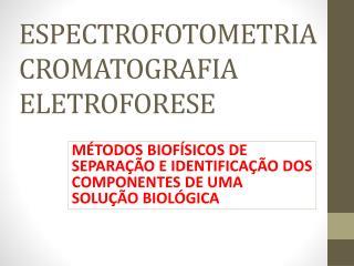 ESPECTROFOTOMETRIA CROMATOGRAFIA ELETROFORESE