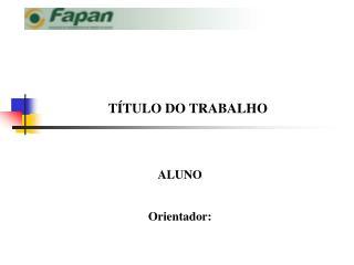 TÍTULO DO TRABALHO