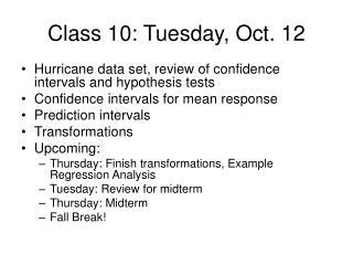 Class 10: Tuesday, Oct. 12