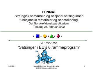 FUNMAT Strategisk samarbeid og nasjonal satsing innen funksjonelle materialer og nanoteknologi Det NorskeVidenskaps-Akad