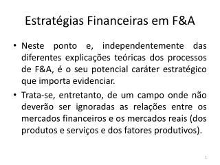 Estratégias Financeiras em F&A