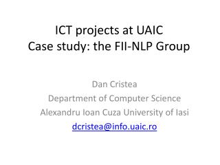 ICT projects at UAIC Case study: the FII-NLP Group