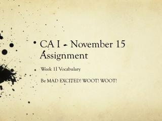 CA  I  – November  15 Assignment