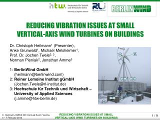 REDUCING VIBRATION ISSUES AT SMALL  VERTICAL-AXIS WIND TURBINES ON BUILDINGS