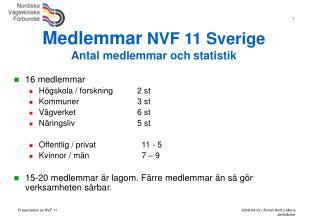 Medlemmar  NVF 11 Sverige  Antal medlemmar och statistik