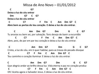 Missa de Ano Novo – 01/01/2012
