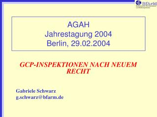 AGAH  Jahrestagung 2004 Berlin, 29.02.2004
