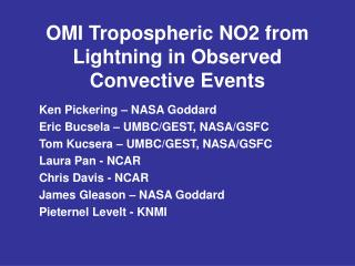 OMI Tropospheric NO2 from Lightning in Observed Convective Events