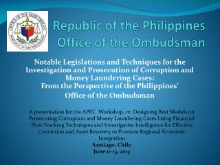 Republic of the Philippines Office of the Ombudsman