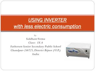 USING INVERTER with less electric consumption