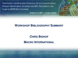 Workshop Bibliography Summary Chris Bishop Macro International