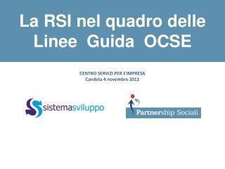 La RSI nel quadro delle  Linee  Guida  OCSE