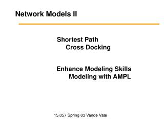 Network Models II