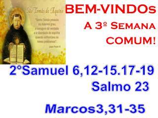 BEM-VINDOs                                A  3º  Semana COMUM!