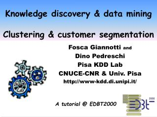 Knowledge discovery & data mining  Clustering & customer segmentation