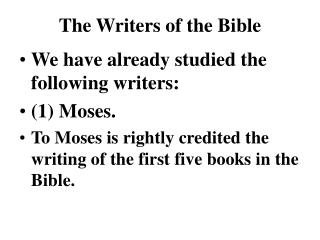 The Writers of the Bible