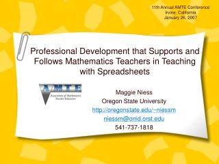 Maggie Niess Oregon State University oregonstate/~niessm niessm@onid.orst