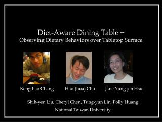 Diet-Aware Dining Table  – Observing Dietary Behaviors over Tabletop Surface
