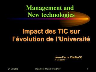 Impact des TIC sur l��volution de l�Universit�