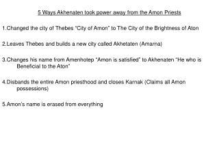 5 Ways Akhenaten took power away from the Amon Priests