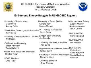 US GLOBEC Pan-Regional Synthesis Workshop Boulder, Colorado 18-21 February 2008