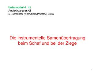 Untermodul 4  -  12 Andrologie und KB 6. Semester (Sommersemester) 2009