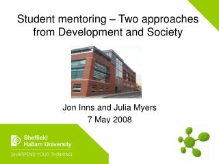 Student mentoring   Two approaches from Development and Society