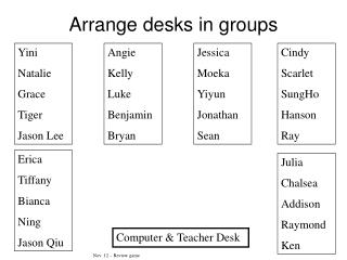 Arrange desks in groups