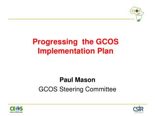 Progressing  the GCOS Implementation Plan