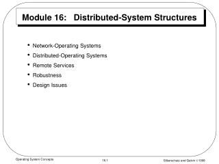 Module 16:   Distributed-System Structures