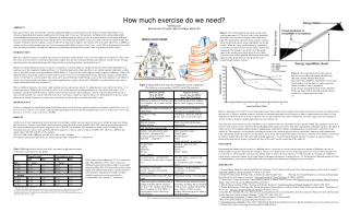 How much exercise do we need? SaRang Lee Biochemistry Program, Beloit College, Beloit, WI
