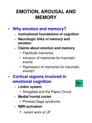 EMOTION, AROUSAL AND MEMORY