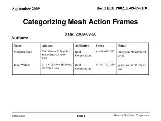 Categorizing Mesh Action Frames