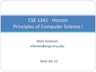 CSE 1341 - Honors Principles of Computer Science I