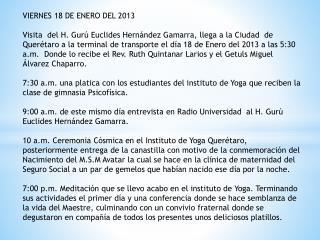 VIERNES 18 DE ENERO DEL  2013