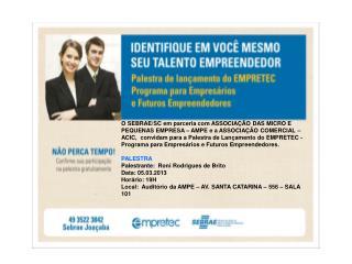 convite Palestra Empretec