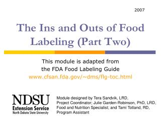 The Ins and Outs of Food Labeling Part Two