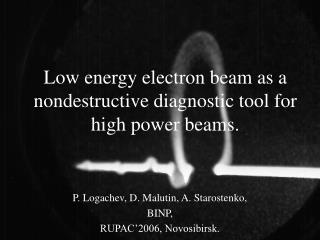 Low energy electron beam as a nondestructive diagnostic tool for high power beams.