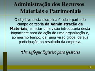 Administração dos Recursos Materiais e Patrimoniais