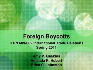 Foreign Boycotts