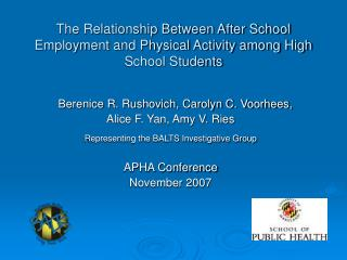 The Relationship Between After School Employment and Physical Activity among High School Students