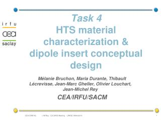 Task 4 HTS material characterization & dipole insert conceptual design