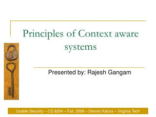 Principles of Context aware systems